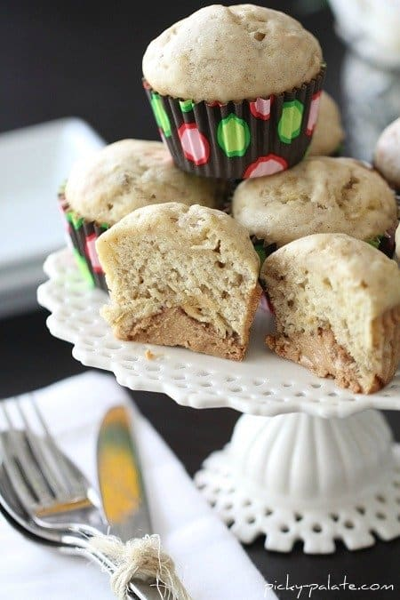 Image of a Stack of Peanut Butter Truffle Banana Bread Muffins
