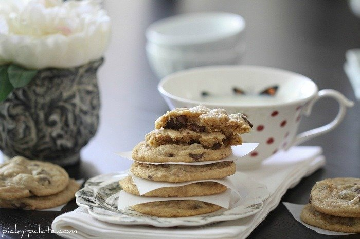 Image of a Stack of Peanut Butter Truffle Chocolate Chip Cookies