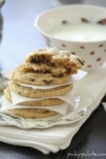 Image of Peanut Butter Truffle Chocolate Chip Cookies, Stacked