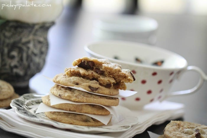 Image of Peanut Butter Truffle Chocolate Chip Cookies, Stacked Between Tissue Paper