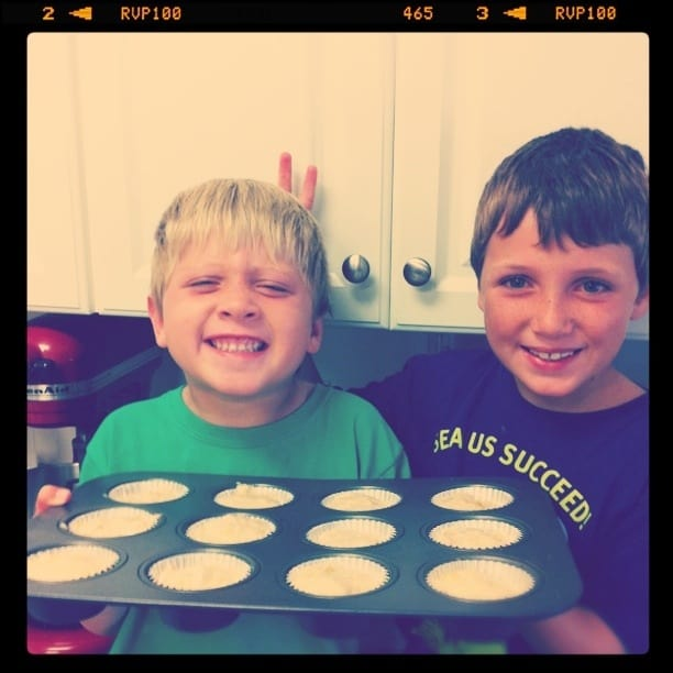Image of my Kids with Peanut Butter Truffle Banana Bread Muffins