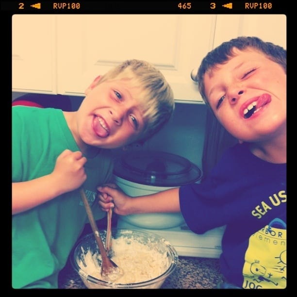 Image of my Kids with Banana Muffin Batter