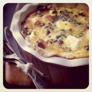 Image of a Cream Cheese, Caramelized Onion and Bacon Quiche