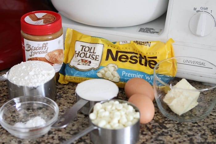 Image of Ingredients for White Chocolate Biscoff Blondies