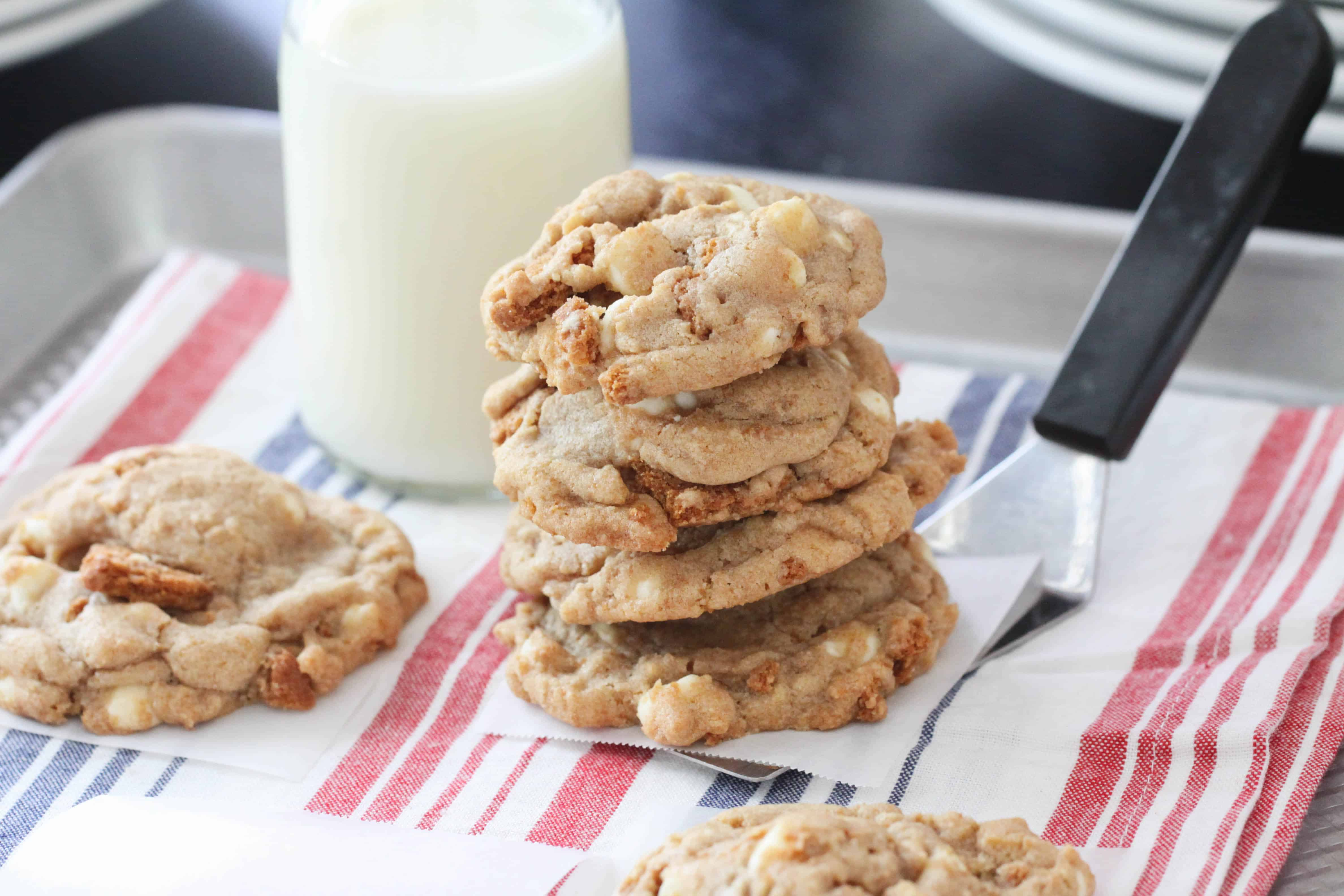 Image of Biscoff Crunch White Chocolate Chip Cookies