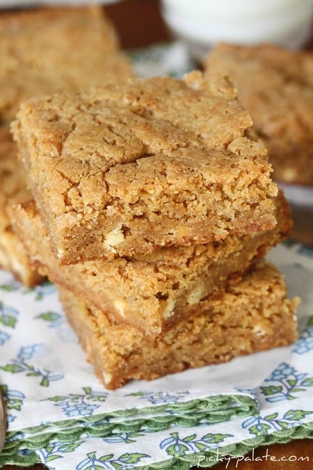 Image of a Stack of White Chocolate Biscoff Blondies