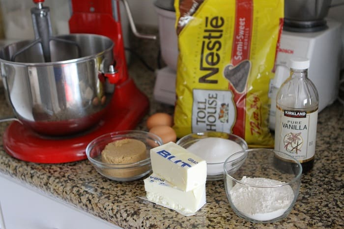 Image of Ingredients for Chocolate Chip Oatmeal Cookie Sandwiches