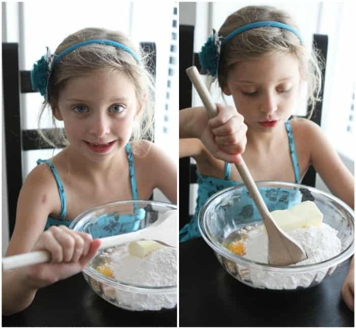 Image of my Neice Stirring the Batter for Neapolitan Gooey Cake Bars