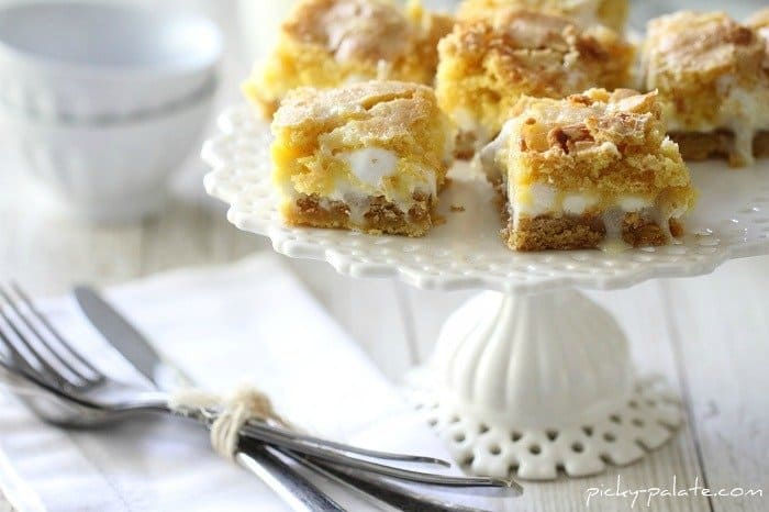 Image of White Chocolate S'mores Gooey Cake Bars