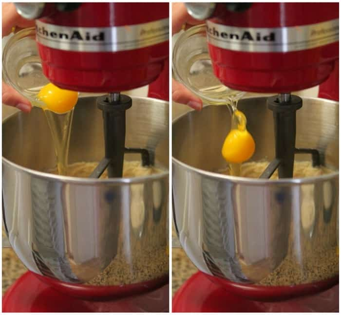 Image of Eggs Being Added to Oatmeal Cookie Batter
