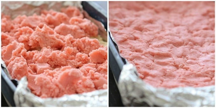 Image of Adding the Strawberry Layer to Neapolitan Gooey Cake Bars