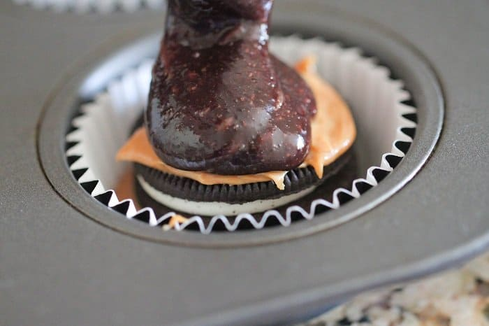 Image of Oreo Peanut Butter Brownie Cakes in a Cupcake Tin