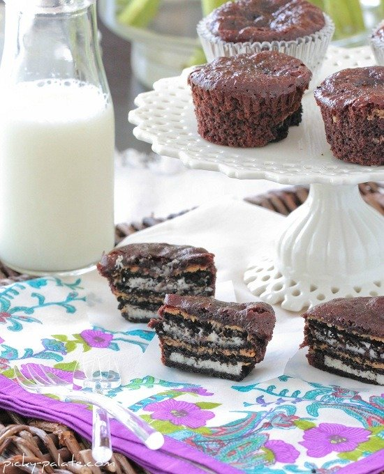 Image of Oreo Peanut Butter Brownie Cakes with a Glass of Milk