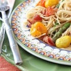 Bacon Parmesan Spaghetti with Asparagus, Corn and Heirloom Tomatoes