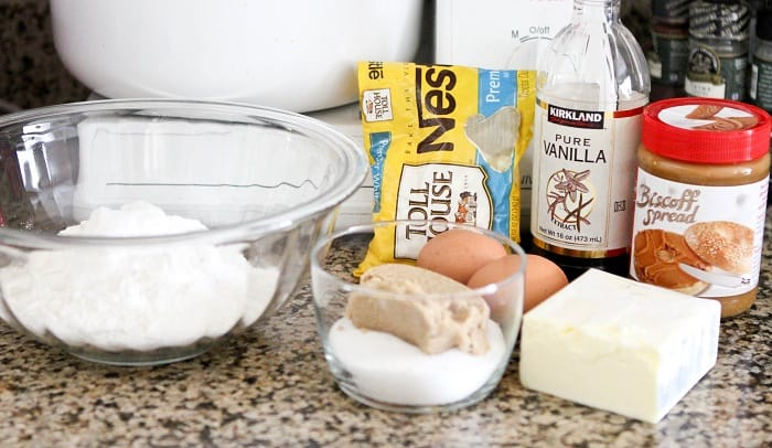 Image of Ingredients for Biscoff Stuffed White Chocolate Chip Cookies
