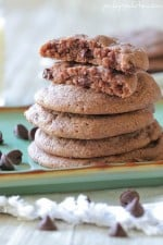 Image of Brownie Batter Chocolate Chip Cookies, Stacked