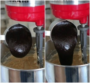 pouring brownie batter