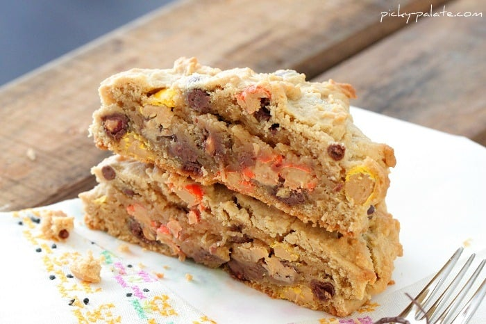 Peanut Butter Reeses Pieces Giant Cookie....for One. - Picky Palate