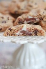 Raspberry Kiss Surprise Peanut Butter Chocolate Chip Cookies