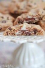 Raspberry Kiss Surprise Peanut Butter Chocolate Chip Cookies