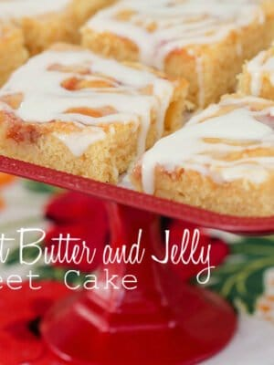 Image of Iced Peanut Butter and Jelly Sheet Cake Bars