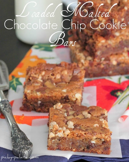 Loaded Malted Chocolate Chip Cookie Bars 2 - Picky Palate