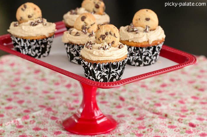 White Chocolate Cupcakes with Cookie Dough Frosting - Picky Palate