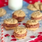 Mini Peanut Butter and Chocolate Buttercream Cookie Sandwiches