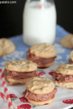 Image of Mini Peanut Butter and Chocolate Buttercream Cookie Sandwiches