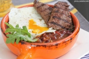 Ancho Grilled Breakfast Steak Over Fried Egg and Beans 5