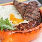 Ancho Grilled Breakfast Steak Over Fried Egg and Beans