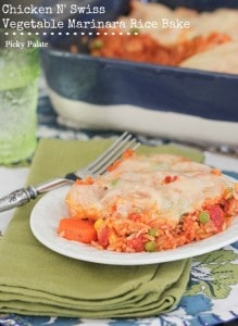 Chicken N' Swiss Vegetable Marinara Rice Bake text