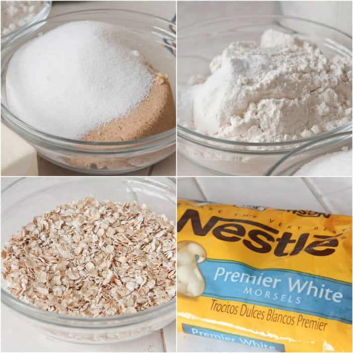 Oatmeal White Chocolate Cookie Dough Bars - Picky Palate