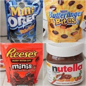 Oreos, butterfinger, reeses and nutella