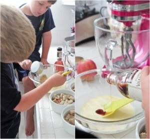 preparing bread pudding