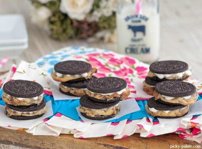 Warm Baked Chocolate Chip Cookie Stuffed Oreos - Picky Palate