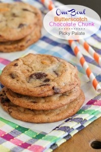 One Bowl Butterscotch Chocolate Chunk Cookies text