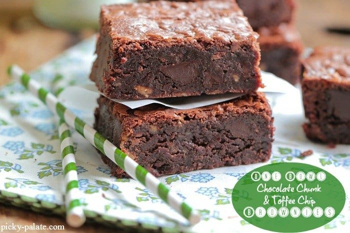One Bowl Toffee Chip Brownies - The