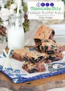 Oreo Chocolate Chip Peanut Butter Bars 1 text