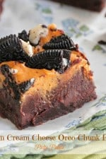 Pumpkin Cream Cheese Oreo Chunk Brownies
