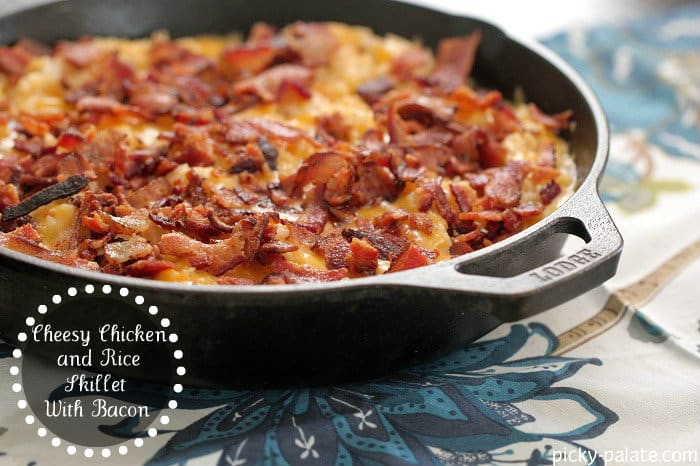 Cheesy Chicken and Rice Skillet Dinner with Bacon - Picky Palate