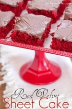 Image of Red Velvet Sheet Cake Slices on a Platter