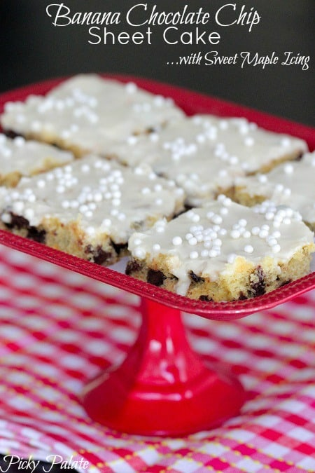 Banana Chocolate Chip Sheet Cake with Sweet Maple Icing - Picky Palate