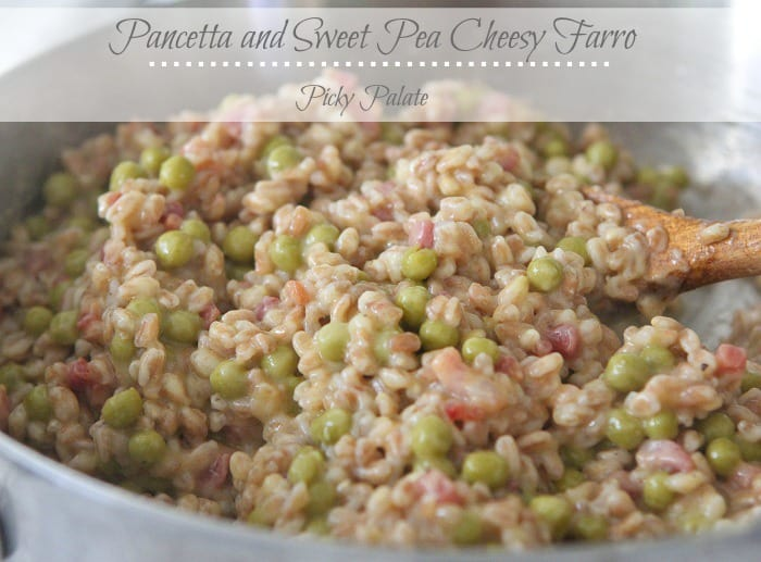 Pancetta and Sweet Pea Cheesy Farro t
