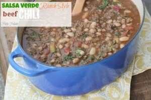 Salsa Verde Ranch Style Beef Chili via Picky Palate