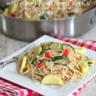 Vegetable Party Spaghetti with Warm Garlic Thyme Olive Oil