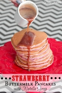 Strawberry Buttermilk Pancakes with Nutella Syrup by Picky Palate www.picky-palate.com