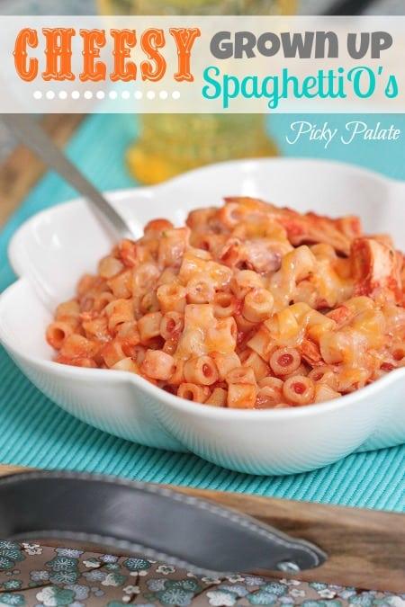 A bowl of homemade spaghettios