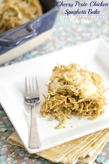 Cheesy Pesto Chicken Spaghetti Bake by Picky Palate www.picky-palate.com