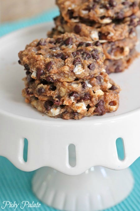 Four Ingredient Banana S'mores Cookies by Picky Palate